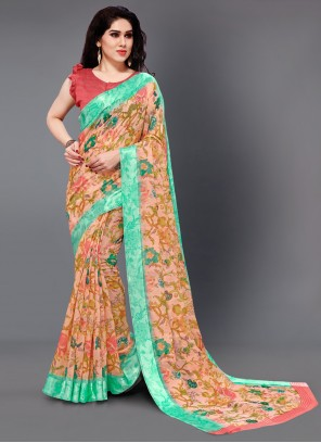 Cotton Multi Colour Floral Print Casual Saree