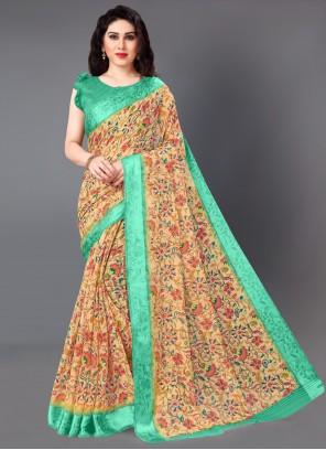Cotton Floral Print Casual Saree
