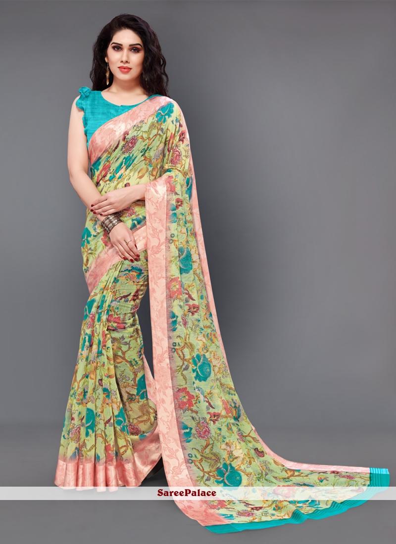 Cotton Floral Print Classic Saree in Multi Colour