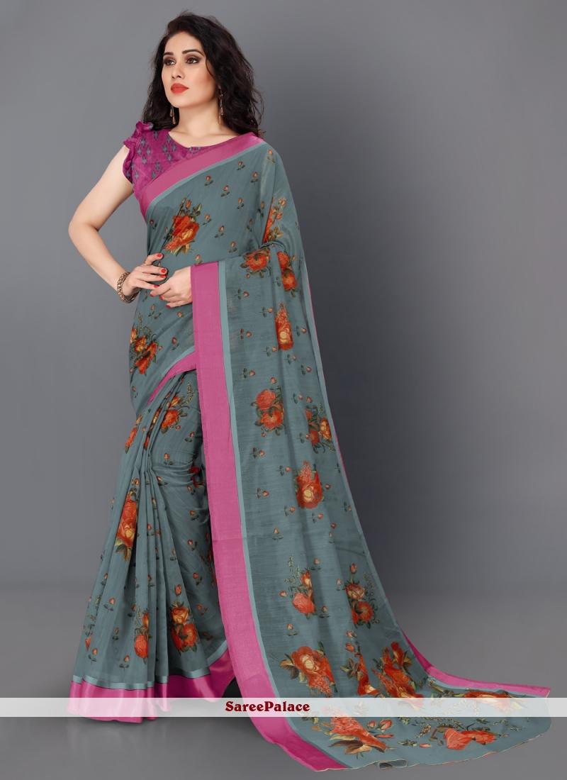 Cotton Floral Print Grey Traditional Saree