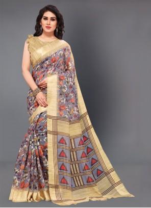 Cotton Floral Print Multi Colour Classic Saree