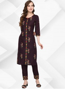 Cotton Floral Print Party Wear Kurti in Brown