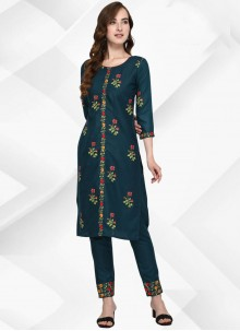 Cotton Floral Print Party Wear Kurti in Teal
