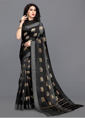 Cotton Foil Print Black Saree