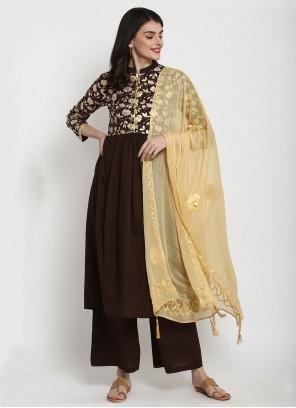 Cotton Foil Print Bollywood Brown Salwar Kameez
