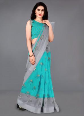 Cotton Foil Print Aqua Blue Classic Saree