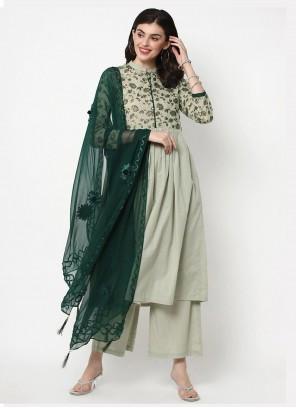 Cotton Foil Print Green Palazzo Salwar Kameez
