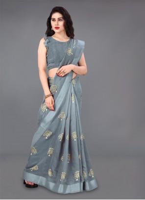 Cotton Foil print Grey Classic Saree