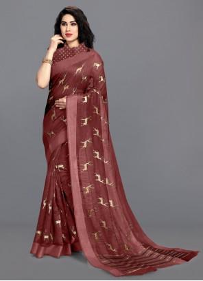 Cotton Foil Print Saree in Maroon