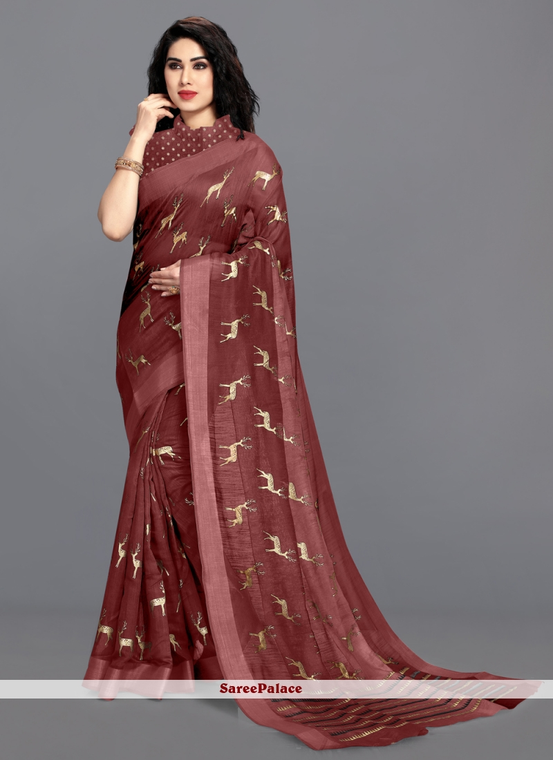 Cotton Foil Print Saree in Maroon