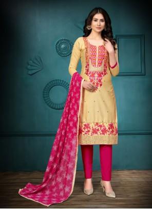 Cotton Gold Churidar Salwar Suit