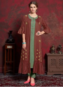 Cotton Green and Maroon Party Wear Kurti