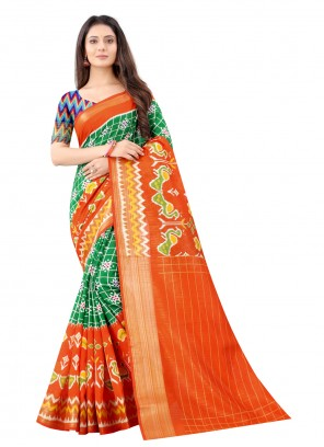 Cotton Green and Orange Printed Saree