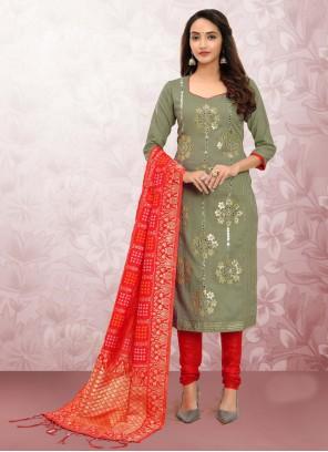 Cotton Green Churidar Designer Suit