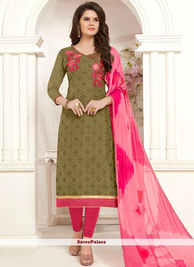 Cotton Green Churidar Salwar Suit