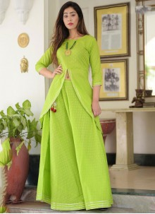 Cotton Green Embroidered Casual Kurti