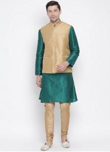 Cotton Green Kurta Payjama With Jacket