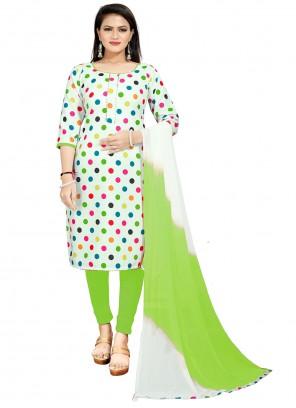 Cotton Green Print Churidar Suit