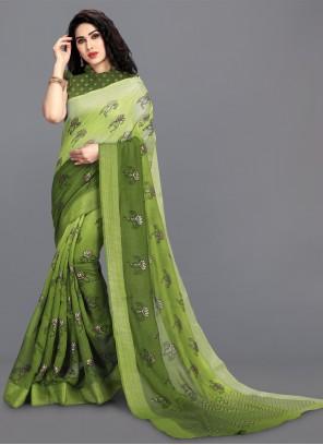 Cotton Green Print Saree