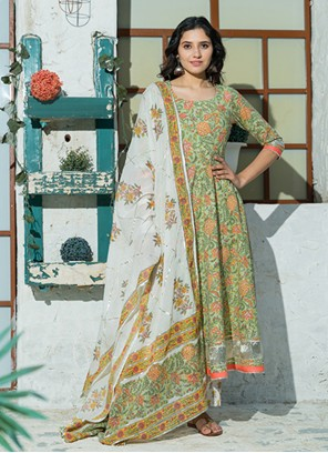 Cotton Green Printed Bollywood Salwar Kameez