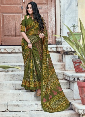 Cotton Green Printed Casual Saree