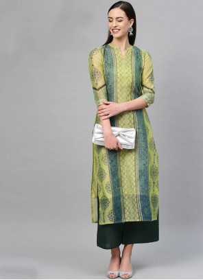 Cotton Green Printed Salwar Kameez