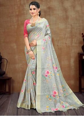Cotton Green Casual Printed Saree