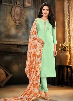 Cotton Green Trendy Churidar Salwar Suit