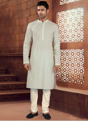Cotton Grey Chikankari Work Kurta Pyjama