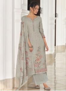 Cotton Grey Designer Palazzo Suit
