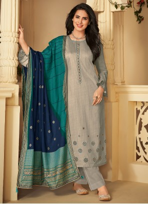 Cotton Grey Embroidered Designer Palazzo Suit