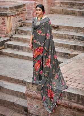 Cotton Grey Floral Print Printed Saree