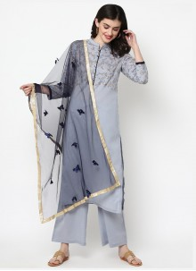 Cotton Grey Foil Print Designer Salwar Kameez