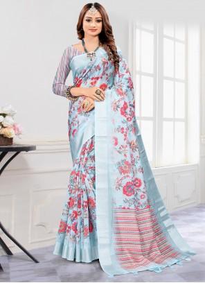 Cotton Grey Digital Printed Saree