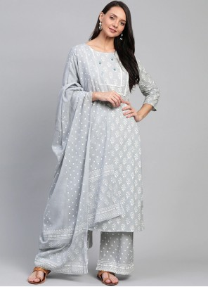 Cotton Grey Readymade Suit