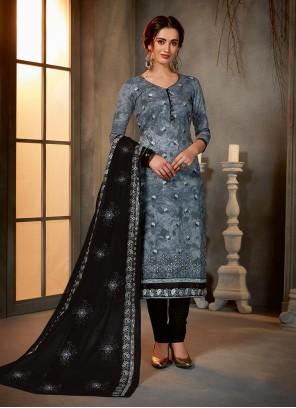 Cotton Grey Salwar Kameez