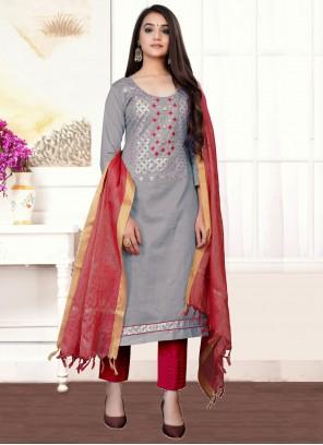Cotton Handwork Designer Straight Suit