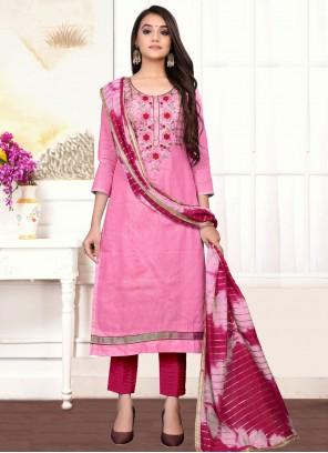 Cotton Handwork Designer Straight Suit in Pink