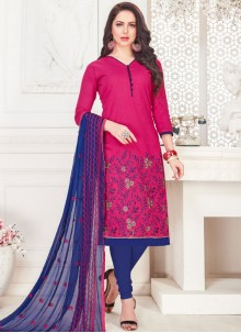 Cotton   Hot Pink Embroidered Churidar Suit