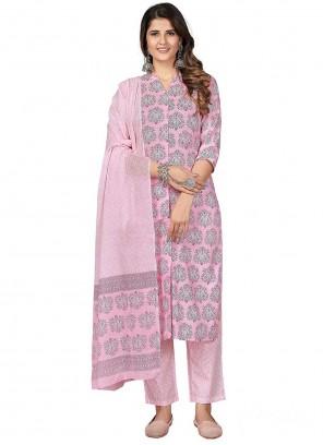 Cotton Hot Pink Pant Style Suit