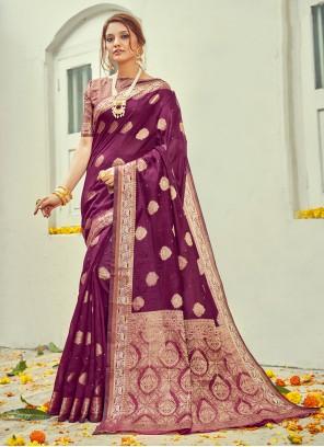 Cotton Jacquard Work Purple Traditional Saree