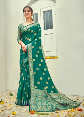 Cotton Jacquard Work Traditional Saree in Green