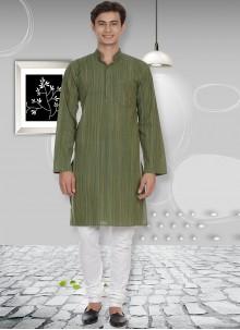 Cotton Kurta Pyjama in Green