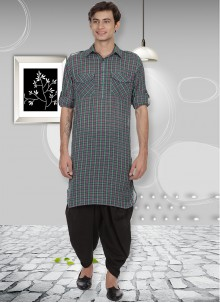 Cotton Kurta Pyjama in Multi Colour