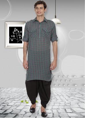 Cotton Kurta Pyjama in Multi Colour