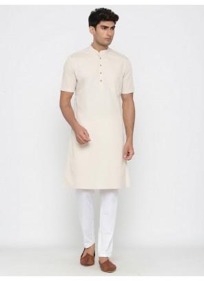 Cotton Kurta Pyjama in Off White