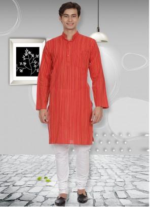 Cotton Kurta Pyjama in Orange