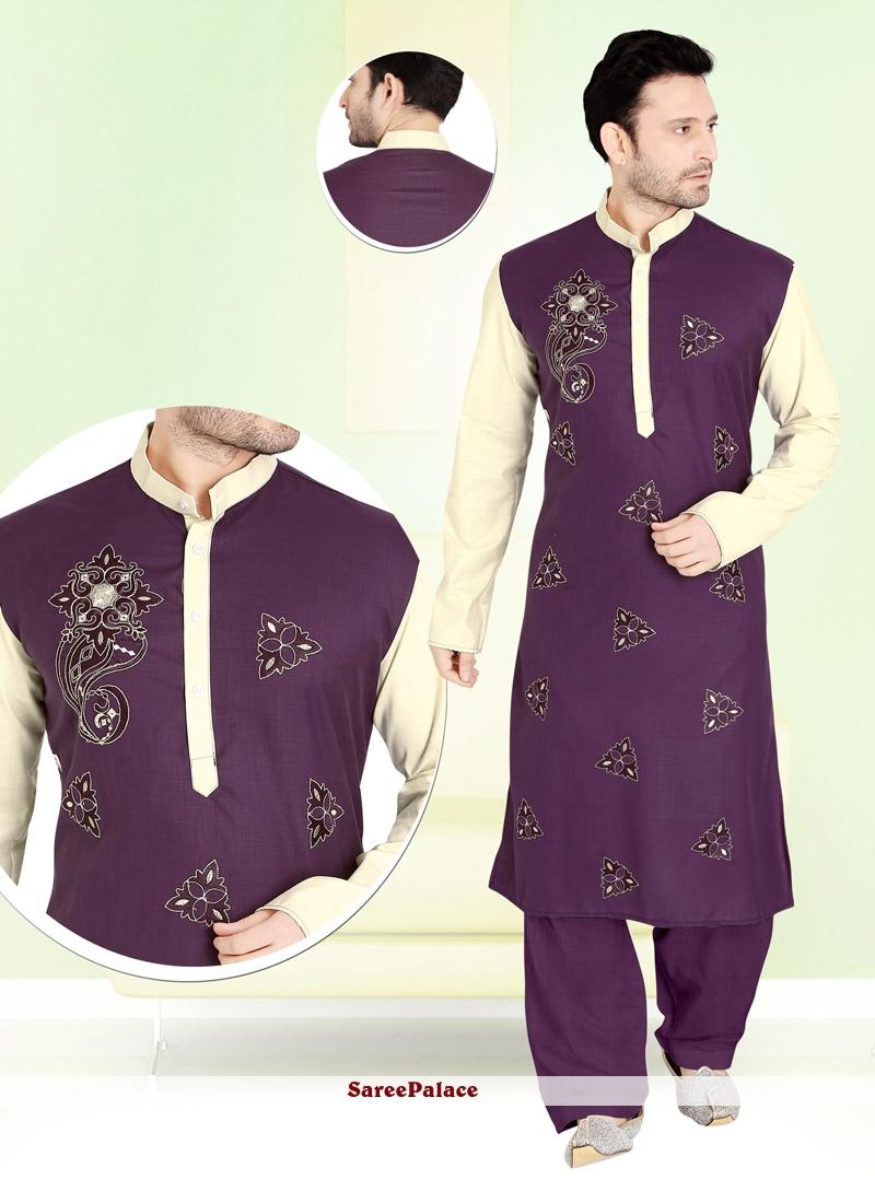 Cotton   Kurta Pyjama in Purple