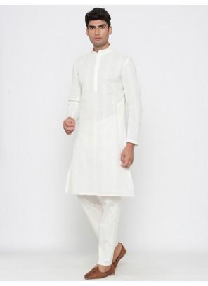 Cotton Kurta Pyjama in White