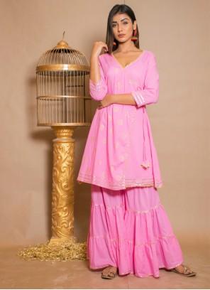Cotton Lace Hot Pink Designer Palazzo Salwar Kameez